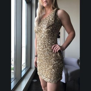 Aidan Mattox One Shoulder Gold Beaded Dress